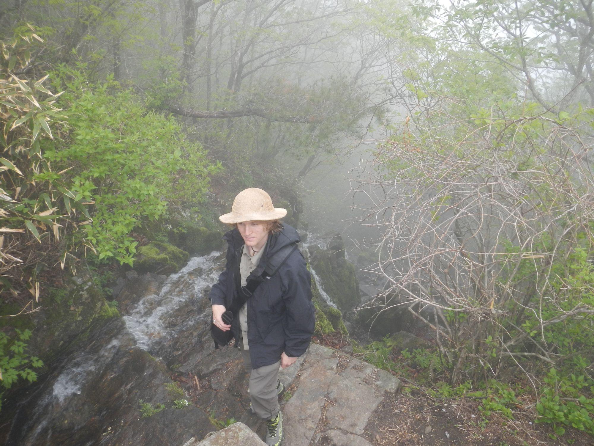 Jason hiking up the tea mountain in Korea