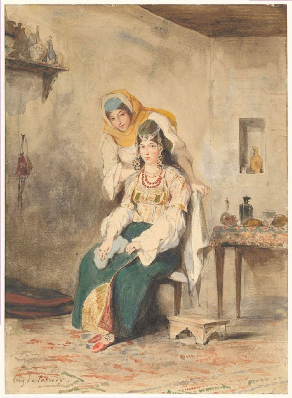 painting of middle eastern mother and daugter