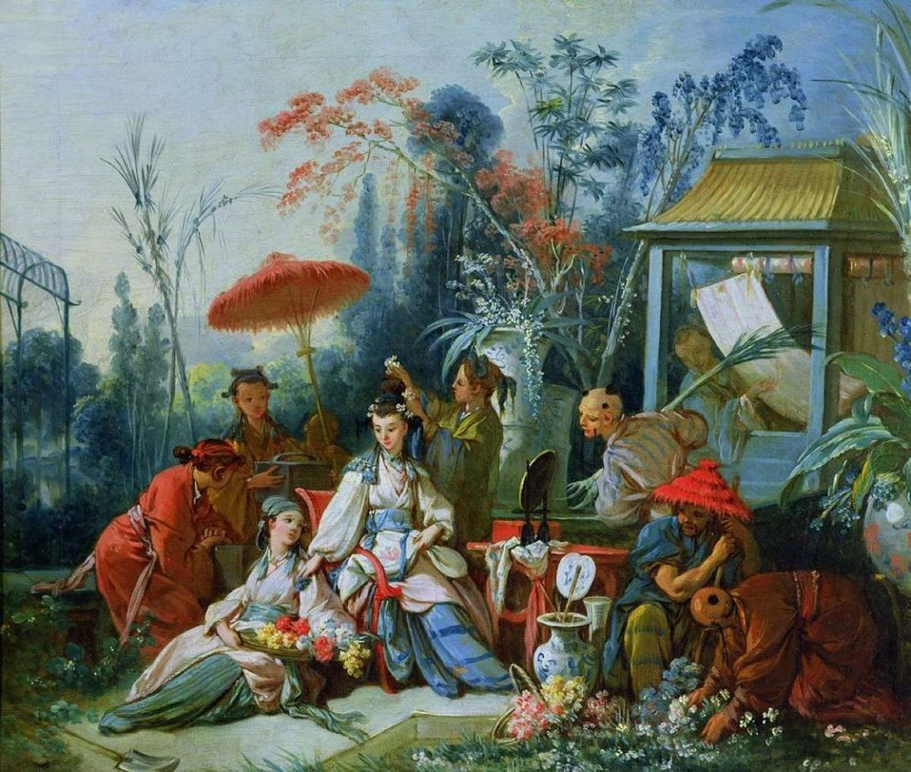 Europeans dressed in oriental clothing, surrounded by oriental items from China and the middle east, drink tea served by servant